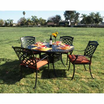Summerset Casual St. Tropez Aluminum 5 Piece 52 in. Round Patio Dining Set