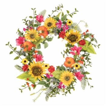 Sullivans Sunflower Primrose and Daisy 24 in. Wreath