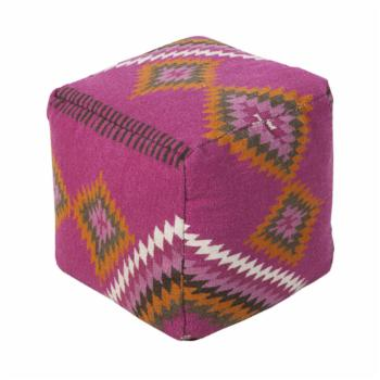 Surya 18 in. Southwest Cube Wool Pouf with Visible Stitching