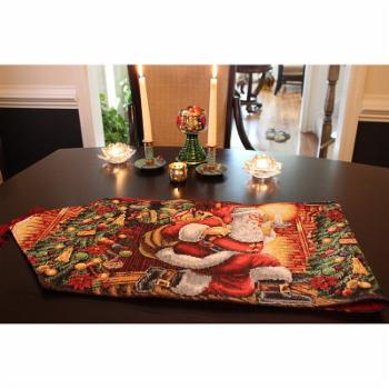 Tache Home Fashion Festive Christmas Tapestry Down the Chimney Table Runner