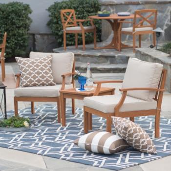 Belham Living Brighton Outdoor Wood Deep Seating Chat Set