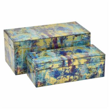 Three Hands 2 Piece Blue and Yellow Glass Box Set