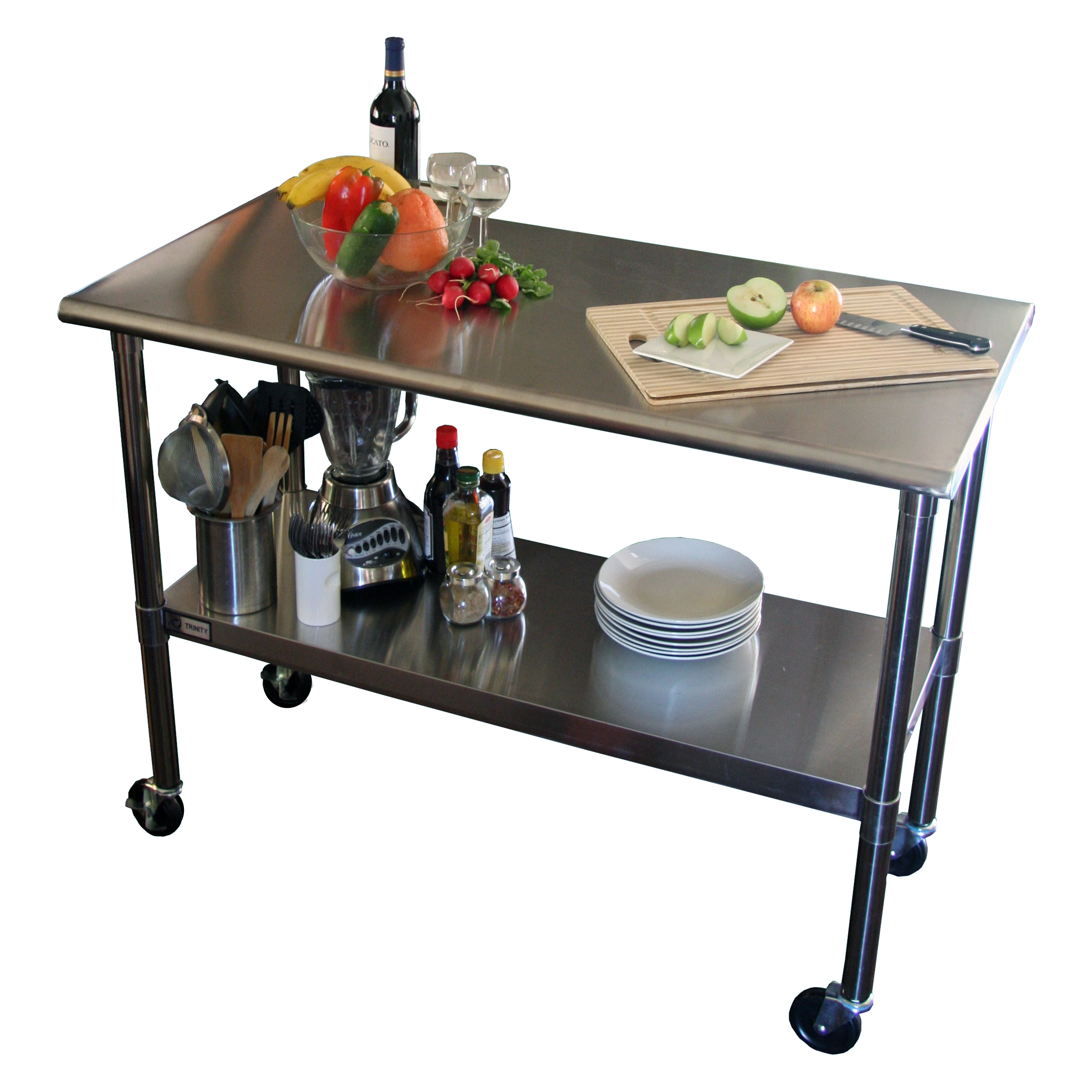 TRINITY EcoStorage In NSF Stainless Steel Prep Table With - Stainless steel work table with wheels