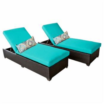 TK Classics Classic Outdoor Chaise Lounge - Set of 2 Chairs and Cushion Covers