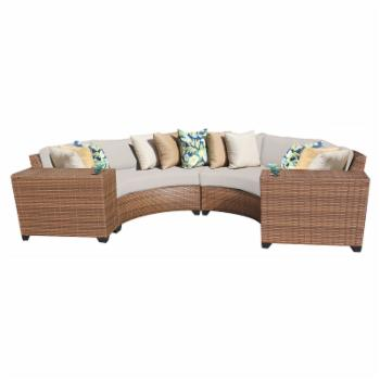 TK Classics Laguna Wicker 4 Piece Patio Conversation Set with Cup Table and 2 Sets of Cushion Covers