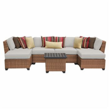 TK Classics Laguna Wicker 7 Piece Patio Conversation Set with Ottoman and 2 Sets of Cushion Covers