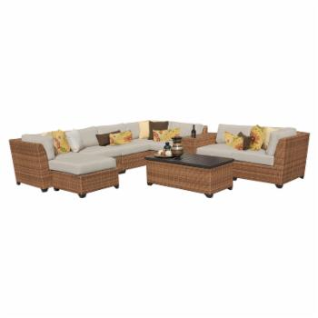 TK Classics Laguna Wicker 10 Piece Patio Conversation Set and 2 Sets of Cushion Covers