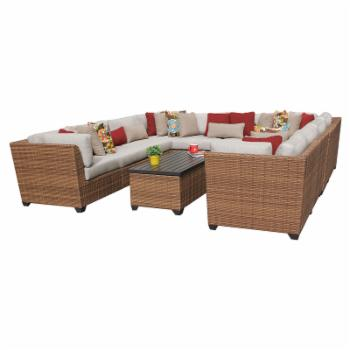 TK Classics Laguna Wicker 11 Piece Patio Conversation Set with Coffee Table and 2 Sets of Cushion Covers
