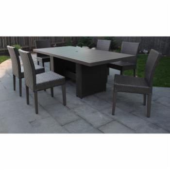 TK Classics Belle Wicker 7 Piece Patio Dining Set with Armless Chairs