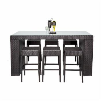 TK Classics Barbados 7 Piece Wicker Bar Height Patio Dining Set