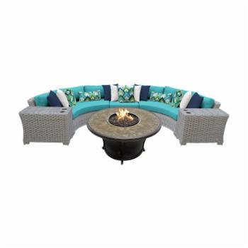 TK Classics Coast 6 Piece Outdoor Wicker Sectional with Balmoral Fire Pit