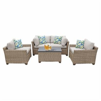 TK Classics Monterey Wicker 5 Piece Patio Conversation Set with Club Chair and 2 Sets of Cushion Covers