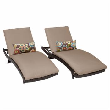 TK Classics Belle Curved Wicker Outdoor Chaise Lounge - Set of 2
