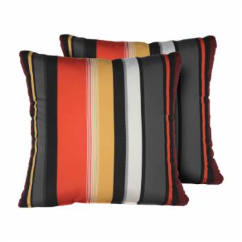 TK Classics Coral and Black Stripe 18 x 18 in. Outdoor Throw Pillow - Set of 2
