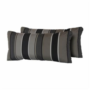TK Classics Grey Mix Stripe 22 x 11 in. Outdoor Throw Pillow - Set of 2