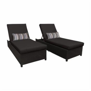 TK Classics Belle Wheeled Wicker Outdoor Chaise Lounge Chair - Set of 2