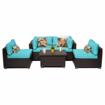 TK Classics Belle Wicker 5 Piece Patio Conversation Set with 2 Sets of Cushion Covers