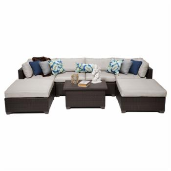 TK Classics Belle Wicker 7 Piece Patio Conversation Set with Ottoman and 2 Sets of Cushion Covers