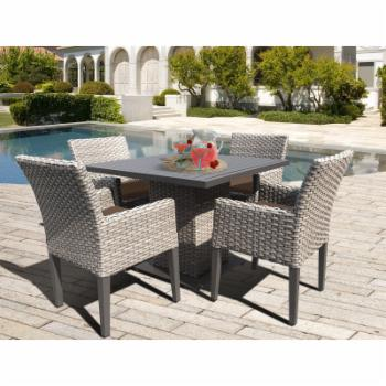 TK Classics Oasis Wicker 5 Piece Outdoor Square Dining Table Set