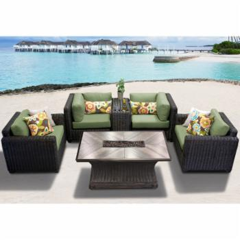 TK Classics Venice 6 Piece Outdoor Sectional Set with Arlo Fire Pit Table