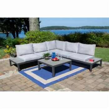 Tortuga Outdoor Lakeview Aluminum 4 Piece Sectional Patio Conversation Set