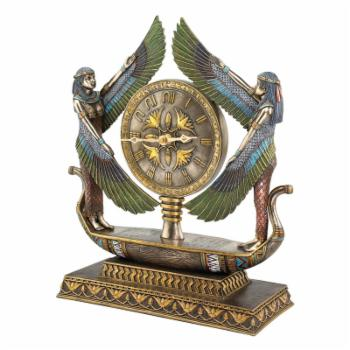 Design Toscano Wings of Isis Egyptian Revival Sculptural Desktop Clock