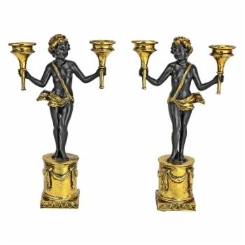 Design Toscano French Neoclassical Cherub Candlestick - Set of 2