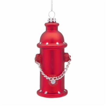 Design Toscano Fire Hydrant Blown Glass Holiday Ornament