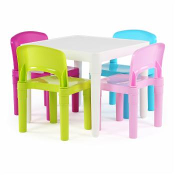Tot Tutors Kids 5 Piece Table and Chairs Set - Pastel