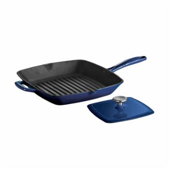 Tramontina Gourmet Enameled Cast Iron 11-inch Grill Pan with Press - Gradated Cobalt