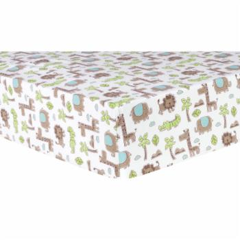 Safari Animals Deluxe Flannel Fitted Crib Sheet by Trend Lab