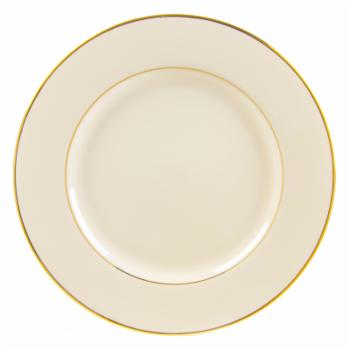 10 Strawberry Street Cream Double Gold Lunch Plates - Set of 6
