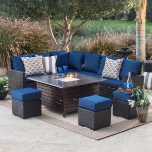Fire Pit Patio Sets Hayneedle - Outdoor furniture with gas fire pit table