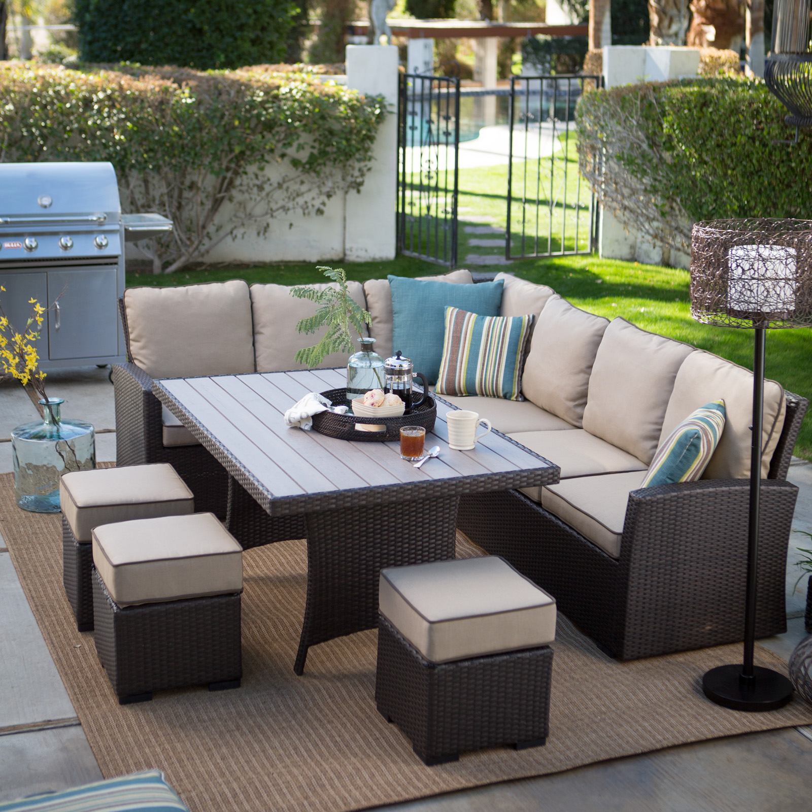 Belham Living Monticello All-Weather Outdoor Wicker Sofa Sectional Set | Hayneedle & Belham Living Monticello All-Weather Outdoor Wicker Sofa Sectional ...