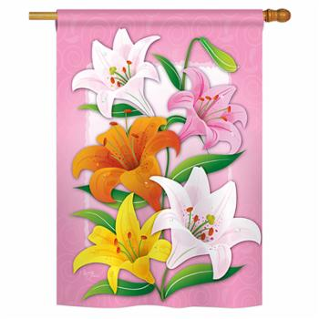 Breeze Decor Lilies Spring Vertical House Flag