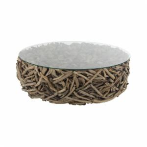 Decmode Natural Round Driftwood Twigs And Gl Coffee Table
