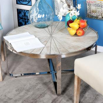 DecMode Contemporary Pine Wood and Stainless Steel Radial Coffee Table