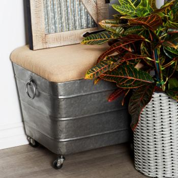 DecMode Contemporary Iron and Fabric Cushioned Storage Stool On Casters