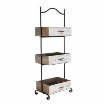 DecMode Rustic Iron and Wood 3 Tier Tray Stand