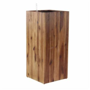 DecMode Rustic Wood Rectangular Plank Style Lined Planter
