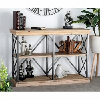 DecMode Fir Wood and Iron 2 Tier Shelf