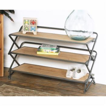 DecMode 3 Tiered Metal and Wood Accordion Shelf