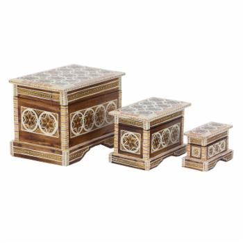 DecMode Traditional Wood Star Batik Design Decorative Boxes with Lid - Set of 3