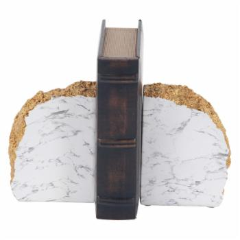 DecMode Rustic Polystone Domed Rock Bookends - Set of 2