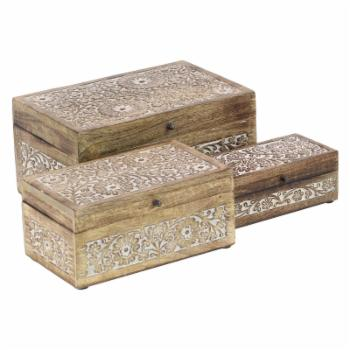 DecMode Mango Wood Carved Floral Boxes - Set of 3