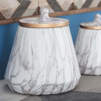 DecMode Ceramic Marble Decorative Oval Jar