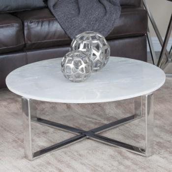 DecMode Modern Marble Round Coffee Table