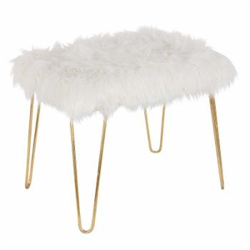 DecMode Modern Faux Fur Cushioned Bench
