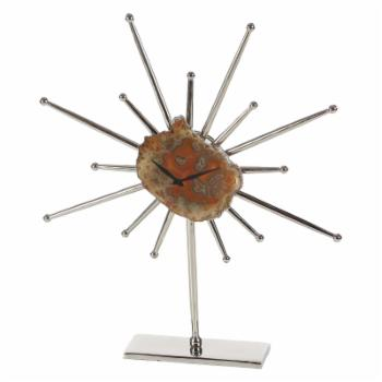 DecMode Brown Agate Stone Spiky Table Clock