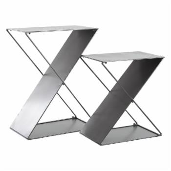 DecMode Modern Z-Shaped Gray Tin Plant Stands - Set of 2